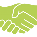 two hands in green coming together to shake hands