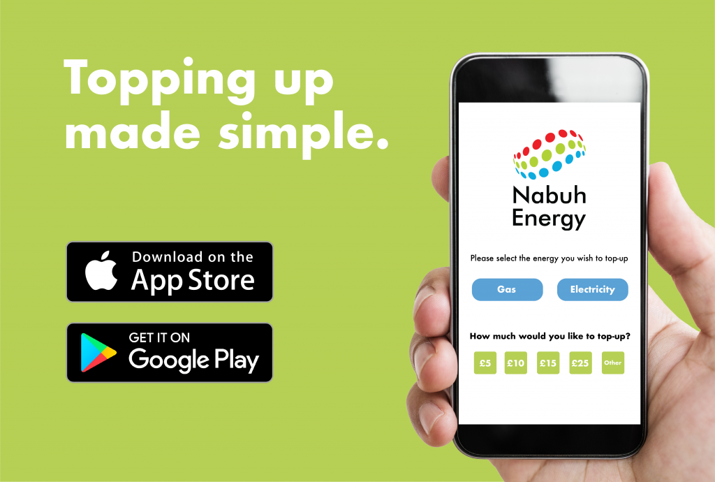 Topping up made simple in top left with buttons for download on apple app store or google app store below that. To the right there is a hand holding a mobile phone with the Nabuh top up page