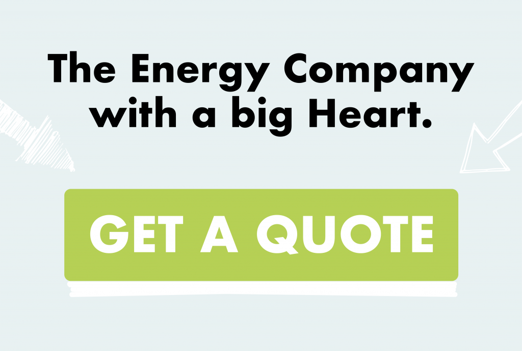 header banner which says The Energy Company with a big heart. Followed by Get a Quote