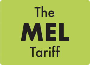 A green square with words 'The Mel Tariff' inside