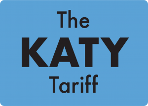 A blue square with words 'The Katy Tariff' inside