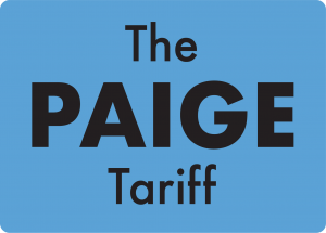 A blue square with words 'The Paige Tariff' inside