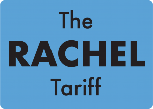 A blue square with words 'The Rachel Tariff' inside