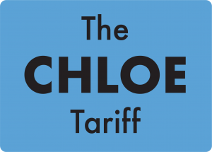 A blue square with words 'The Chloe Tariff' inside