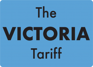 A blue square with words 'The Victoria Tariff' inside