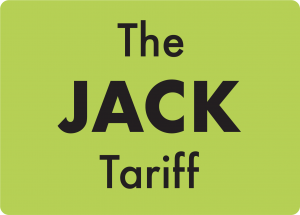A green square with words 'The Jack Tariff' inside