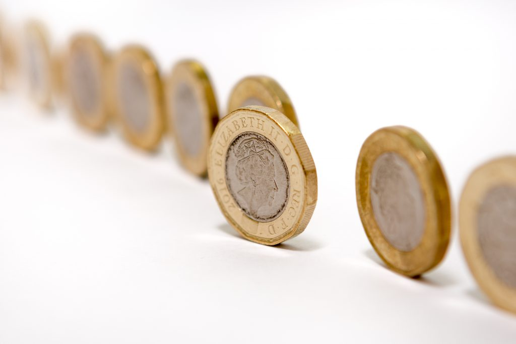 Row of one Pound Coins